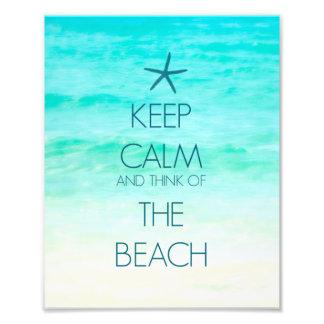Guarde la calma y piense en la playa cojinete