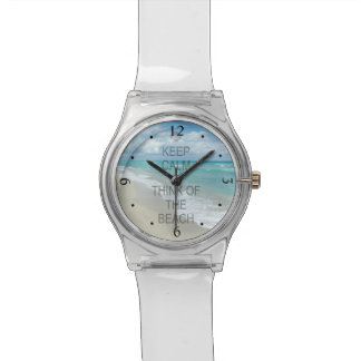 Guarde la calma y piense en la playa relojes de mano