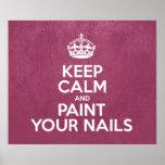 Guarde la calma y pinte sus clavos - cuero rosado