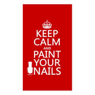 Guarde la calma y pinte sus clavos (todos los colo plantilla de tarjeta de negocio