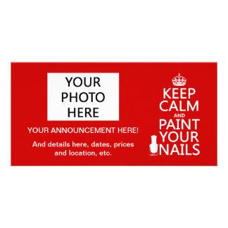 Guarde la calma y pinte sus clavos (todos los colo tarjeta personal