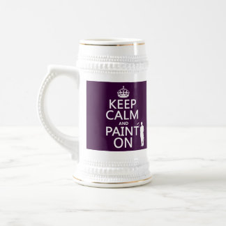 Guarde la calma y píntela en (decorador) jarra de cerveza