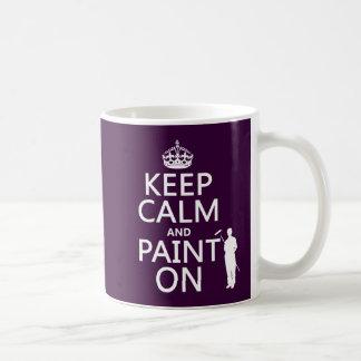 Guarde la calma y píntela en (decorador) taza clásica