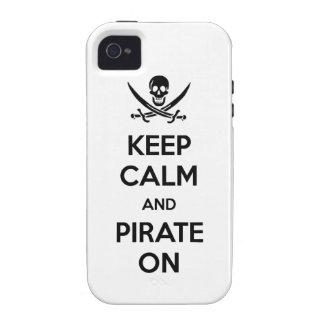 Guarde la calma y piratéela encendido iPhone 4 carcasa