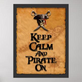 Guarde la calma y piratéela encendido póster