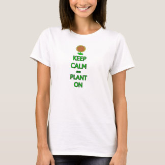 Guarde la calma y plante la fruta vegetal g de la playera