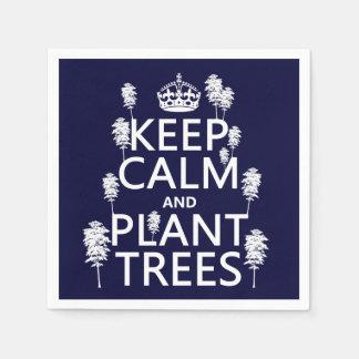 Guarde la calma y plante los árboles (todos los servilletas de papel