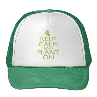 Guarde la calma y plántela encendido gorras de camionero