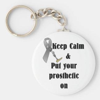 Guarde la calma y ponga su prostético llavero redondo tipo pin