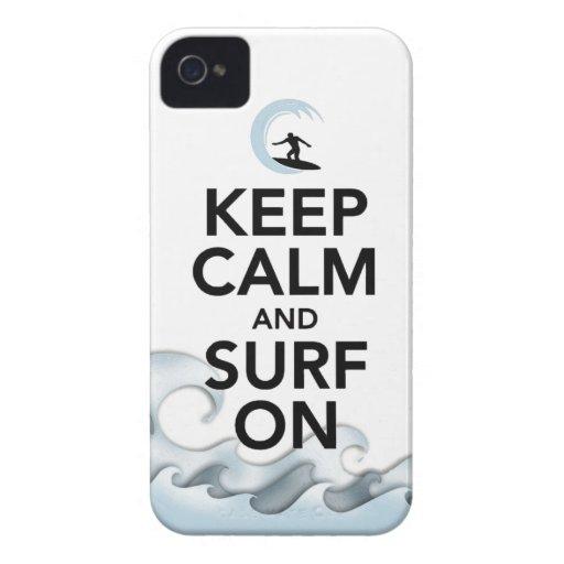 guarde la calma y practique surf en deporte iPhone 4 Case-Mate coberturas