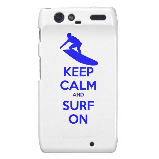 Guarde la calma y practique surf encendido motorola droid RAZR carcasa