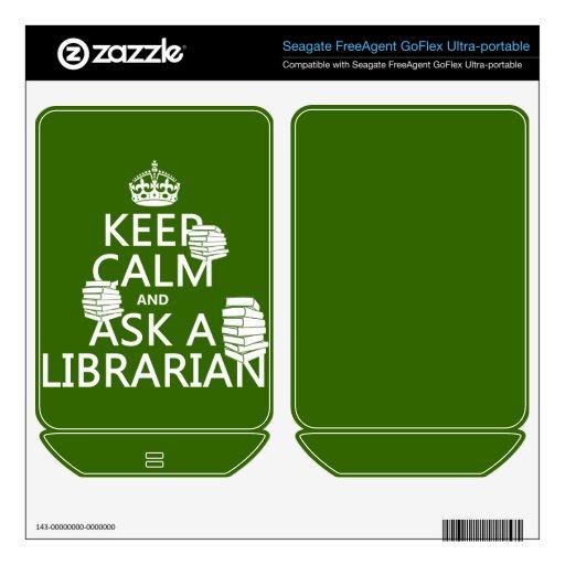 Guarde la calma y pregunte a bibliotecario (cualqu FreeAgent GoFlex calcomanías