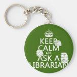 Guarde la calma y pregunte a bibliotecario (cualqu llaveros personalizados