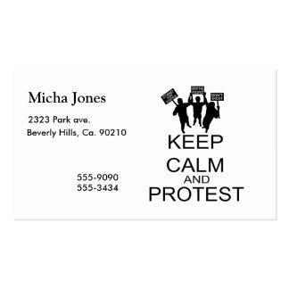 Guarde la calma y proteste tarjetas de visita