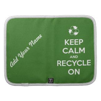 Guarde la calma y recíclela en verde planificadores