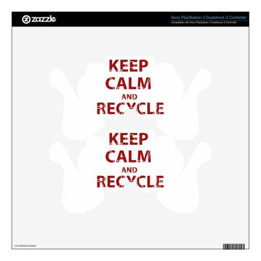 Guarde la calma y recíclela skins para mando PS3