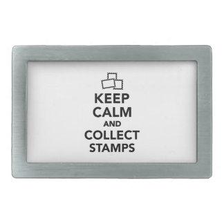 Guarde la calma y recoja los sellos hebillas cinturon rectangulares