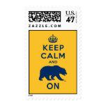 Guarde la calma y refiérase timbre postal