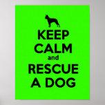 GUARDE la CALMA Y RESCATE un Perro-Verde Poster