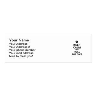 Guarde la calma y ruede los dados tarjetas de visita mini