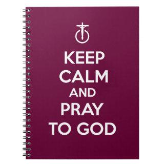Guarde la calma y ruegue a dios libros de apuntes con espiral