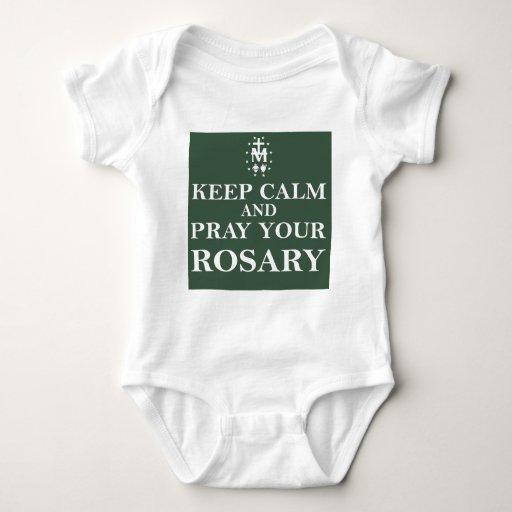 Guarde la calma y ruegue su rosario Forest Green Poleras