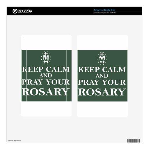 Guarde la calma y ruegue su rosario Forest Green Pegatina Skin Para Kindle Fire