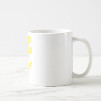 Guarde la calma y ruegue tazas de café