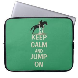 Guarde la calma y salte en bolso del ordenador fundas portátiles