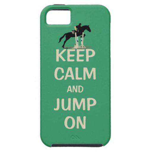 Guarde la calma y salte en caballo iPhone 5 Case-Mate protectores