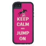 Guarde la calma y salte en caballo rosado iPhone 5 carcasas