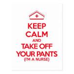 Guarde la calma y saque sus pantalones postales