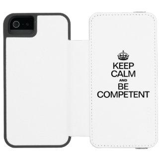 GUARDE LA CALMA Y SEA COMPETENTE FUNDA BILLETERA PARA iPhone 5 WATSON