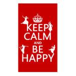 Guarde la calma y sea feliz (danza) (el personaliz tarjetas de visita