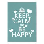 Guarde la calma y sea feliz (disponible en todos invitación 13,9 x 19,0 cm