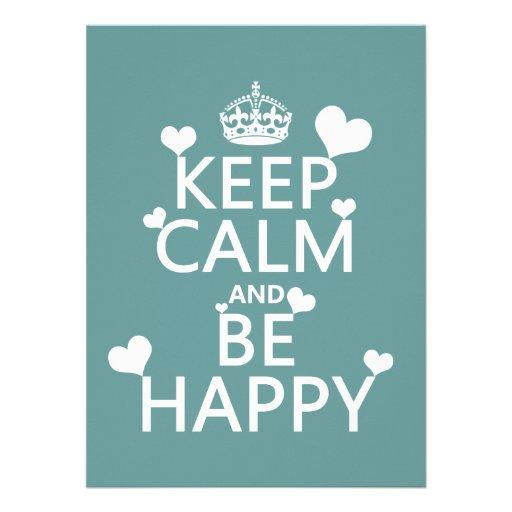 Guarde la calma y sea feliz (disponible en todos l invitacion personalizada
