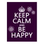 Guarde la calma y sea feliz (disponible en todos l postales