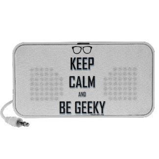 Guarde la calma y sea Geeky Laptop Altavoz