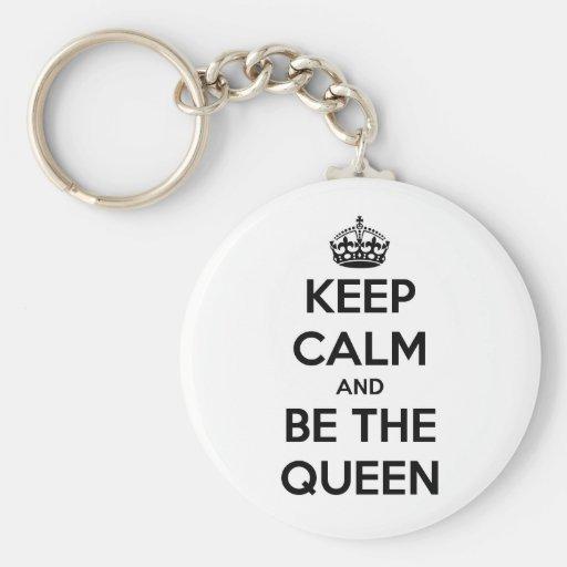 Guarde la calma y sea la reina llaveros personalizados
