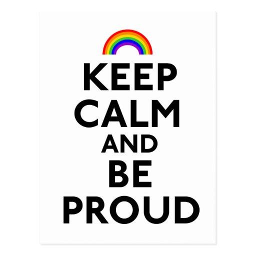 Guarde la calma y sea orgulloso postal