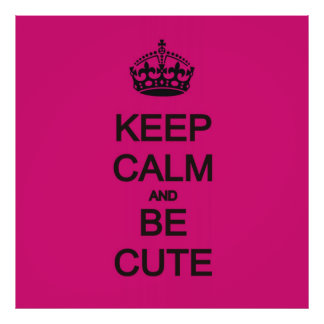 guarde la calma y sea poster rosado de neón lindo