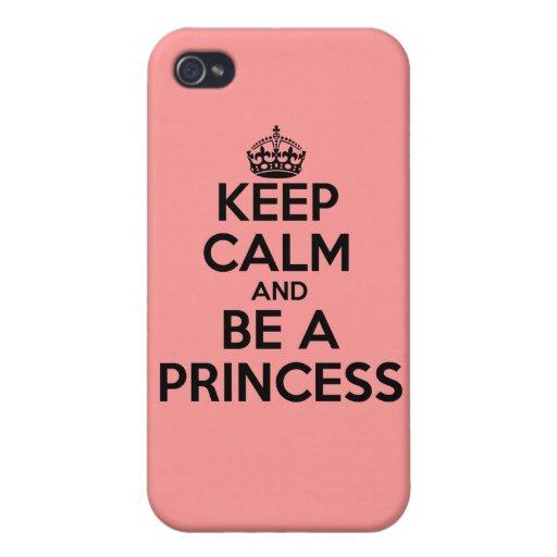 Guarde la calma y sea un caso de la princesa iPhone 4/4S carcasas