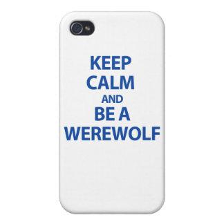 Guarde la calma y sea un hombre lobo iPhone 4 cárcasas