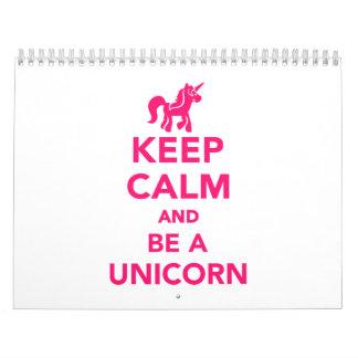 Guarde la calma y sea un unicornio calendarios