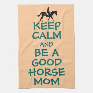 Guarde la calma y sea una buena mamá del caballo toalla de cocina