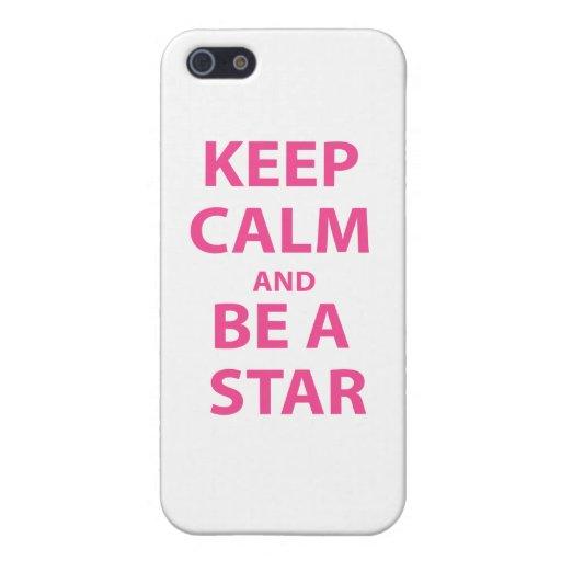 Guarde la calma y sea una estrella iPhone 5 fundas