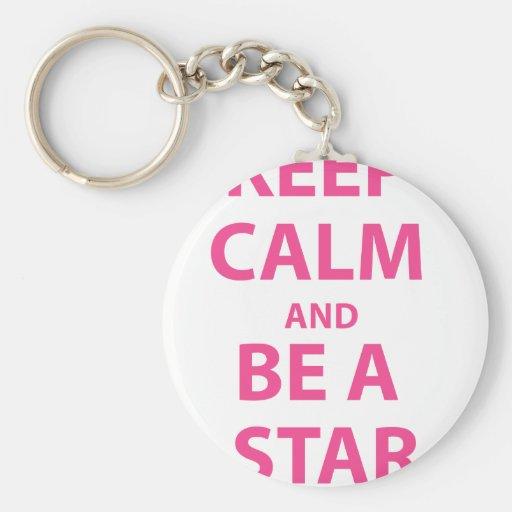 Guarde la calma y sea una estrella llavero personalizado