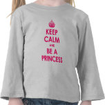 Guarde la calma y sea una princesa Girls Long-Slee Camisetas