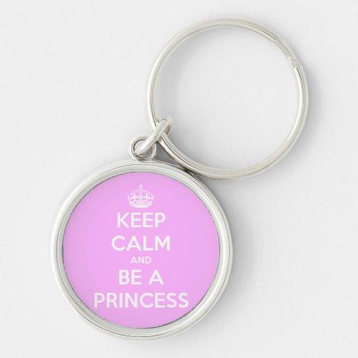 Guarde la calma y sea una princesa llaveros personalizados