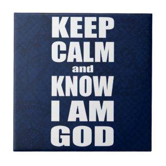 GUARDE LA CALMA y SÉPALA que soy cristiano de DIOS Azulejo Cuadrado Pequeño